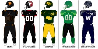 2014 CFL season - West Division Signature Uniforms