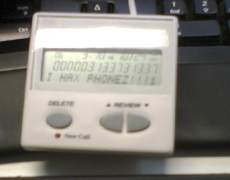 "Caller ID spoofing - Example of Caller ID spoofed via orange boxing, both the name and number are faked to reference ""leetspeak""."