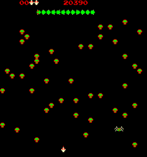 Centipede (video game) - Screenshot of Centipede's gameplay