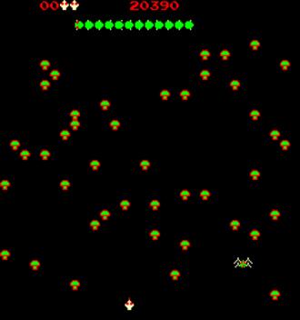 Centipede (video game) - Screenshot of Centipede's gameplay