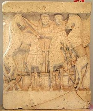 Demeter - Demeter drives her horse-drawn chariot containing her daughter Persephone-Kore at Selinunte, Sicily, 6th century BC.