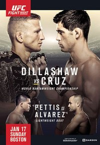 A poster or logo for UFC Fight Night: Dillashaw vs. Cruz.