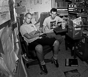 Me and You (Egg Hunt song) - Future Egg Hunt members at Dischord Records ca. 1983. From left to right are Ian MacKaye and Jeff Nelson.