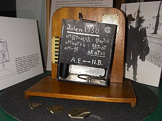 Bohr–Einstein debates - George Gamow's make-believe experimental apparatus for validating the thought experiment at the Niels Bohr Institute in Copenhagen.