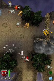 A player, displayed on the lower screen, faces a horde of skeletons approaching from the top screen.