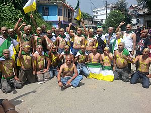 Gorkhaland - Gorkhaland supporters demonstrating in Mirik, Darjeeling.