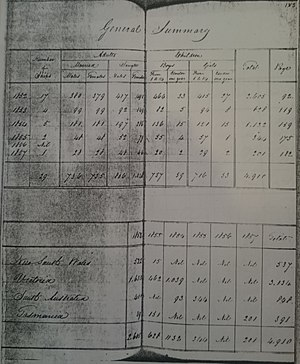 Highland and Island Emigration Society - Page from HIES records summarising operations