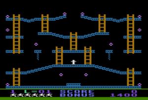 Jumpman (video game) - Opening screen in the original Atari version of Jumpman. Jumpman is centered, in white.