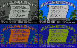 Composite artifact colors - King's Quest (CGA) - Top: Game in composite mode, Bottom: Game in RGB mode, Left: with RGB monitor, Right: with composite monitor