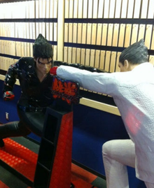 Statue of Jin and Kazuya in a fighting pose