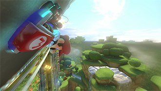 Mario Kart - Mario driving upside-down using the anti-gravity mechanic introduced in Mario Kart 8.