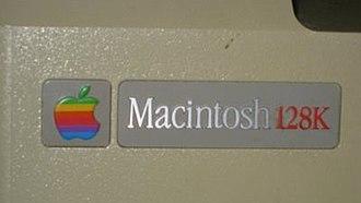Macintosh 128K - Back case label of a Macintosh made after November 1984