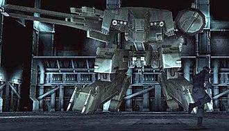 Metal Gear Solid - Snake engaging Metal Gear REX