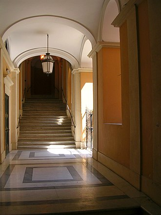 Palazzo Muti - Palazzo Muti. Stairs leading from the courtyard to the piano nobile.