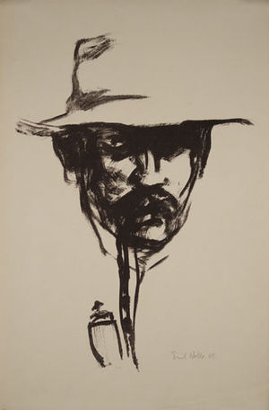 Emil Nolde - Head with Pipe (Self Portrait) (1907) Lithograph