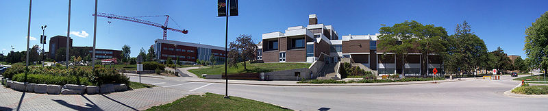 South entrance to Main Campus. From left to right: Hagey Hall of the Humanities, Tatham Cooperative Education Centre, South Campus Hall.