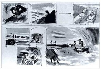 Pather Panchali - A page from the film's storyboard, created by Ray