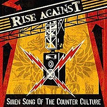 "The cover art for Siren Song of the Counter Culture. In the middle of the cover, there is a loudspeaker with red electric bolts coming out of it. The loudspeaker is atop a red, yellow, and black background. Above the loudspeaker, the words ""RISE AGAINST"" are written at a slanted angle. At the bottom of the cover are the words ""SIREN SONG OF THE COUNTER CULTURE""."