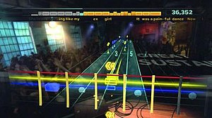 Rocksmith - In Rocksmith, players are shown a virtual fretboard with colored notes (represented as colored rectangles associated to specific guitar strings) on numbered lanes (corresponding to frets) to indicate what they should play on the guitar. The top portion of the screen graphically shows how the player has performed on the previous sections of the song and at what difficulty (the orange boxes), as well as the song's lyrics and the current score.