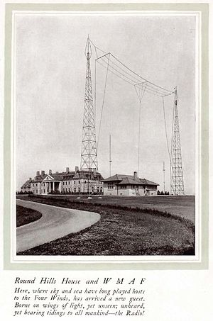 Edward Howland Robinson Green - Photo of Green's house, with the WMAF antenna in the foreground