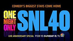 Promo card for SNL's 40th Anniversary Special