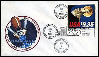 Astrophilately - This cover was one of thousands flown on space shuttle mission STS-8 and sold to the public after landing. The postmarks reflects the originally planned launch and return dates.