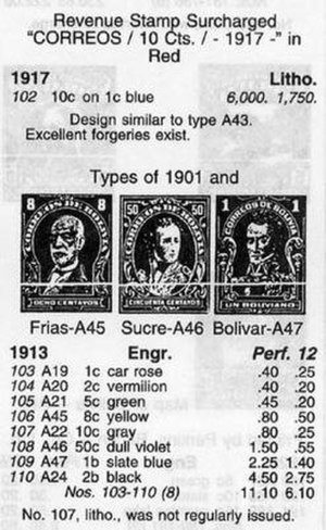 "Scott catalogue - A small excerpt from 1910s Bolivia; each stamp includes the Scott number, design, denomination, color, unused and used prices, and additional annotations as needed. As the ""1917"" appearing before ""1913"" suggests, related stamps are sometimes grouped logically rather than numbered strictly chronologically."