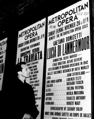 Silvio Varviso - Silvio Varviso reads the placard advertising his debut performance at the Metropolitan Opera, in 1961.