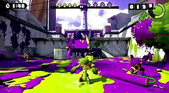 Splatoon - In Splatoon, players control characters referred to as Inklings. Here, the player uses an Inkling in humanoid form to shoot colored ink across the game environment.