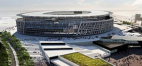 A 3D rendering of a round stadium with to angular buildings leading up to it.