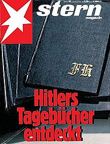 "The front cover of Stern magazine. The image is of three black notebooks; on the top book are the gold letters FH in gothic script. The Stern logo—an irregular six-pointed white star on a red background is in the top left of the cover, next to the word ""stern"". At the bottom are the words in German ""Hitlers Tagebücher endeckt"" (""Hitler's diaries discovered"")."