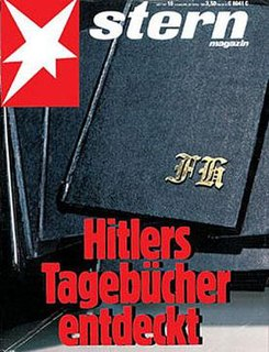 series of sixty volumes of journals purportedly by Adolf Hitler, but forged by Konrad Kujau