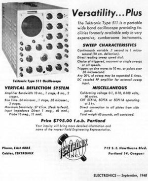 Tektronix - Advertisement from an engineering magazine touting the features of the Tektronix 511. The model 511 put Tektronix as a future leader of oscilloscope products