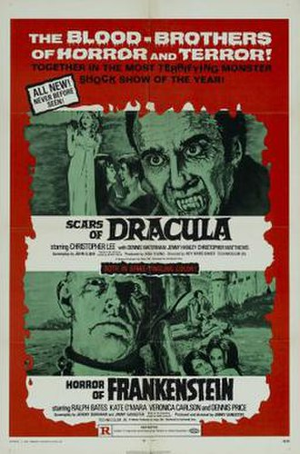The Horror of Frankenstein - Theatrical release poster, promoted as part of a double feature with Scars of Dracula