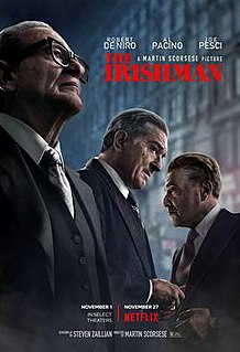 <i>The Irishman</i> 2019 epic crime film directed by Martin Scorsese