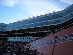 A view of the Ben Hill Griffin Stadium skyboxes, completed in 2003.