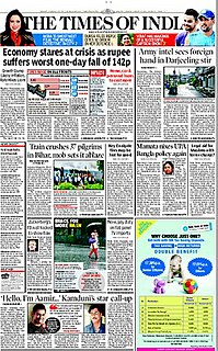<i>The Times of India</i> Indian English-language daily newspaper