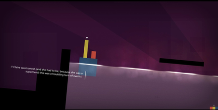In Thomas Was Alone, the player manipulates several rectangular shapes across a platforming environment, using their unique abilities, such as floating in water, to aid the other shapes. Thomas was alone screenshot.png