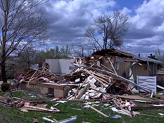 Tornado outbreak of May 1–2, 2008 - Home heavily damaged in Gladstone, Missouri.