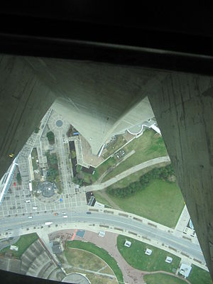 Glass floor - Downview through glass floor at CN Tower, Toronto, Ontario, Canada