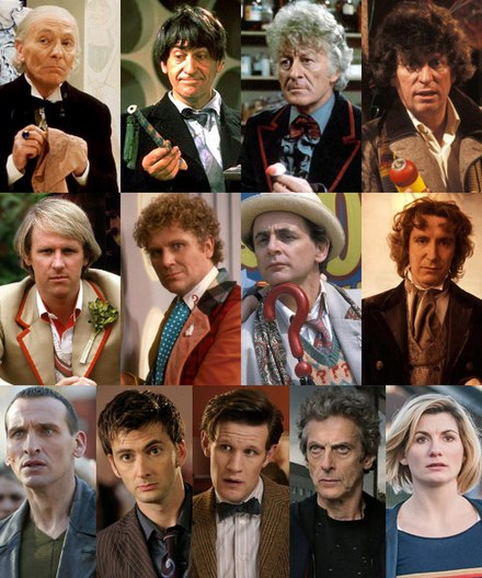 The Doctor portrayed by series leads in chronological order. Left to right from top row; William Hartnell, Patrick Troughton, Jon Pertwee, Tom Baker, Peter Davison, Colin Baker, Sylvester McCoy, Paul McGann, Christopher Eccleston, David Tennant, Matt Smith, Peter Capaldi and Jodie Whittaker. Versions of the Doctor.jpg