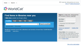 WorldCat International union library catalog