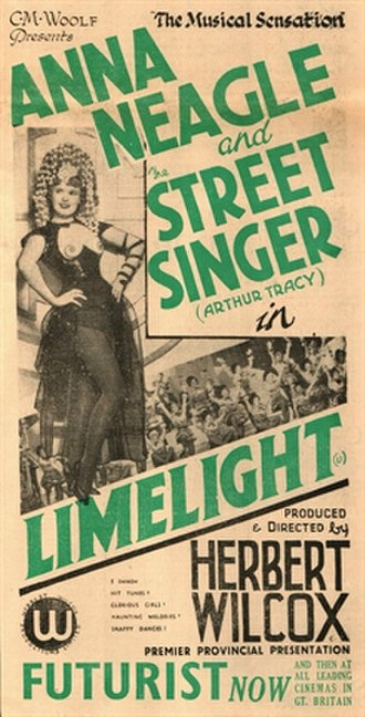 Limelight (1936 film) - Poster ad from the Sunday Mercury, 1936