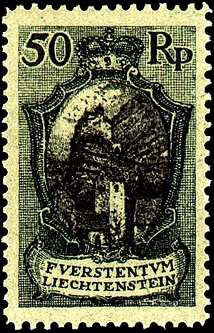 Postage stamps and postal history of Liechtenstein - A 1921 mint stamp of the Principality of Liechtenstein depicting Gutenberg Castle.