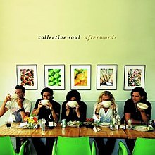 The cover for Afterwords is a photograph of the group sitting at a restaurant.