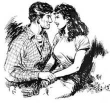 Drawing of a young man looking intently into the eyes of a smiling young woman while holding her hand.