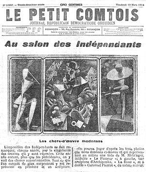 Alexander Archipenko - (center) Jean Metzinger, c.1913, Le Fumeur (Man with Pipe), Carnegie Museum of Art, Pittsburgh; (left) Alexander Archipenko, 1914, Danseuse du Médrano (Médrano II), (right) Archipenko, 1913, Pierrot-carrousel, Solomon R. Guggenheim Museum, New York. Published in Le Petit Comtois, 13 March 1914