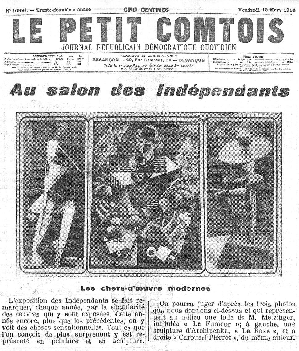 Alexander Archipenko, Jean Metzinger, Au Salon des Indépendants, Le Petit Comtois, 13 March 1914