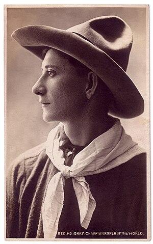 Bee Ho Gray - Publicity photo for Bee Ho Gray - Champion Roper of the World, 1913-1915.