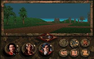 Betrayal at Krondor - The main interface of Betrayal at Krondor. The party is travelling east along a road.